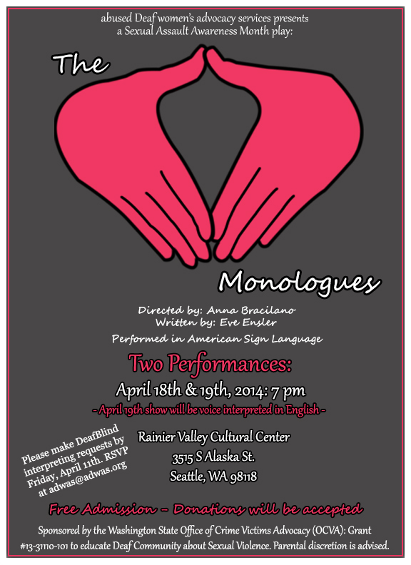 vagina monologues 2014 flyer