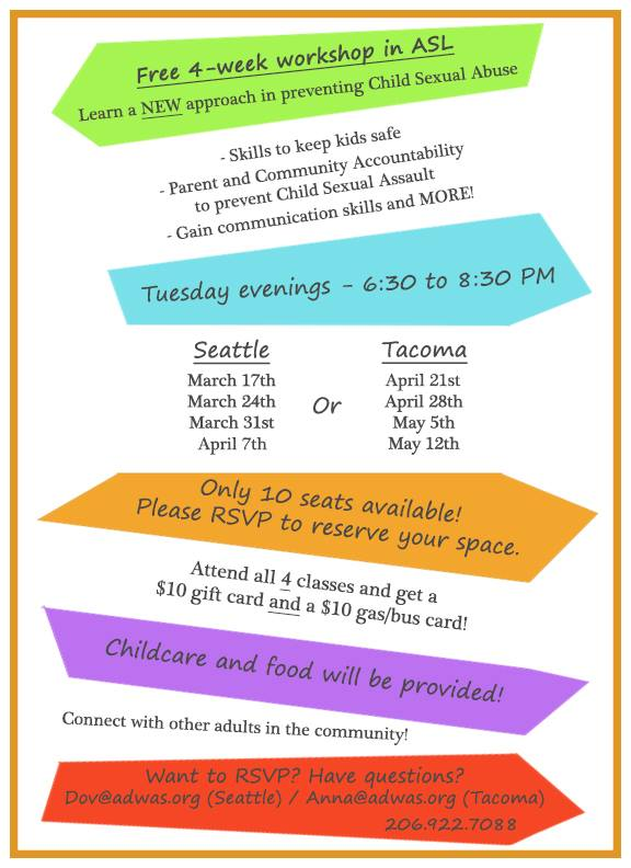 Child Sexual Abuse Prevention Classes  @ TACOMA