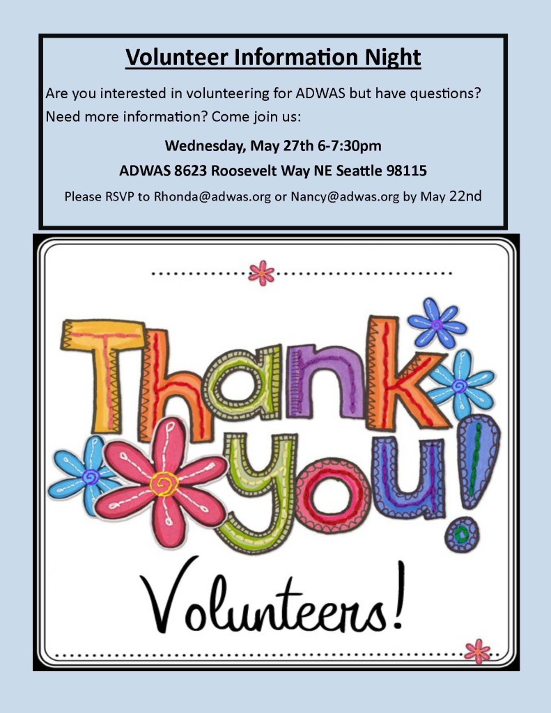 Volunteer Information Night @ ADWAS | Seattle | Washington | United States