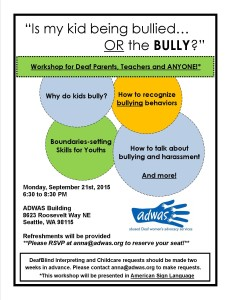 Workshop: Is my kid being bullied OR the BULLY?  @ ADWAS | Seattle | Washington | United States