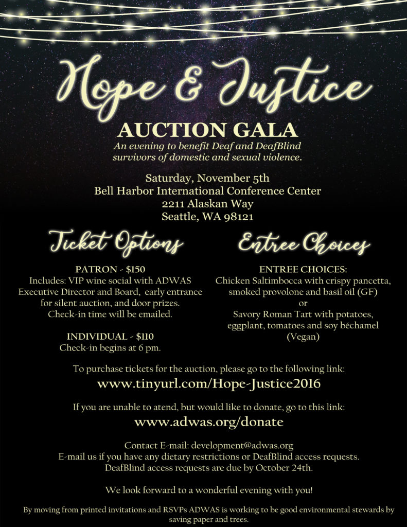 2016 ADWAS Hope & Justice Auction Gala @ Bell Harbor International Conference Center | Seattle | Washington | United States