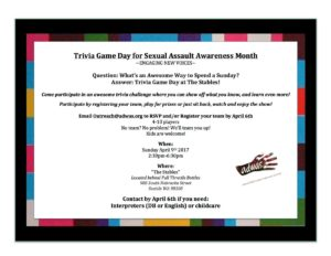Trivia Game Day for Sexual Assault Awareness Month @ The Stables | Seattle | Washington | United States